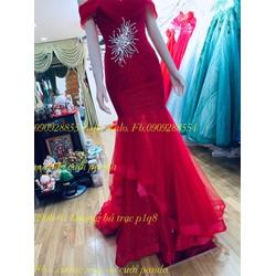 áo cưới đỏ đô đuôi cá sang trọng