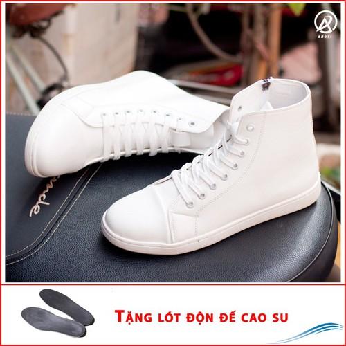 Giày nam - giày thể thao cao cổ da sần màu trắng cổ có khóa và có dây đế khâu chắc chắn- trắng-độn đế + t518-lc