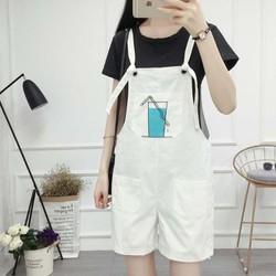 quần shorts yếm hình ly nước Mã: QN912 - TRẮNG