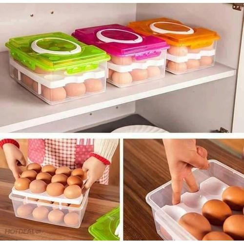 Hộp đựng trứng 2 tầng 24 ngăn - 20918775 , 23996972 , 15_23996972 , 99000 , Hop-dung-trung-2-tang-24-ngan-15_23996972 , sendo.vn , Hộp đựng trứng 2 tầng 24 ngăn