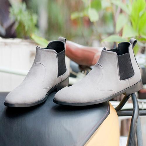 Giày chelsea boot nam cổ chun da búc xám phong cách hàn quốc-  buckxam-độn đế+  cb520-lc