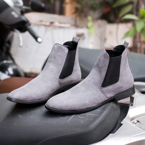 Giày chelsea boot nam cao cổ da buck cổ chun màu xám phong cách hàn quốc - xám+vòng- cb548-lc