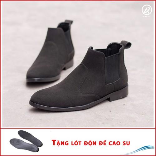 Giày chelsea boot cổ chun da búc màu đen cực đẹp - phong cách đế được khâu chắc chắn-  buckden-độn đế +  cb520-lc