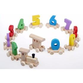 Bộ đồ chơi xe lửa gỗ chở số - T7388