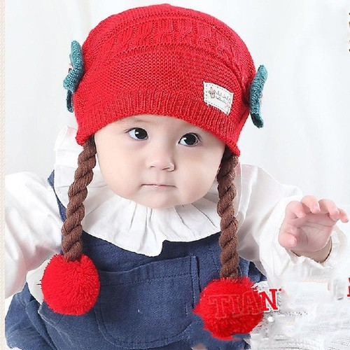 Mũ len tóc giả cho bé gái 0-3 tuổi