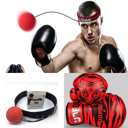 Găng đấm boxing - combo 02 găng đấm boxing zooboo -  bóng đấm phản xạ treo đầu