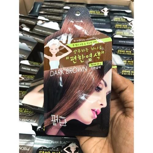 Nâu đen hộp 5 gói thuốc nhuộm tóc dyeing pyeonan hàn quốc màu nâu đen