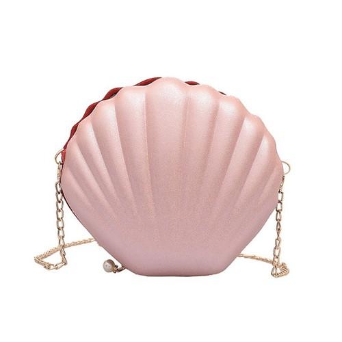 Túi đeo nữ hình vỏ sò - màu hồng