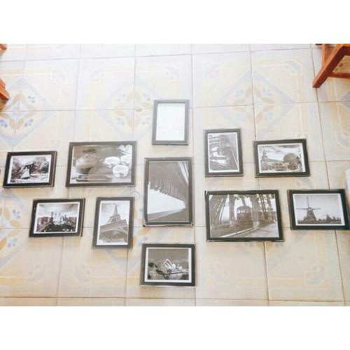 Bộ 11 khung ảnh treo tường viền mảnh cỡ chuẩn tặng kèm đinh 3 chân 8 khung 15x21cm và 3 khung 21x30cm không ảnh