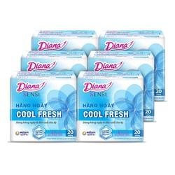 Bộ 6 gói Băng vệ sinh Diana hàng ngày Sensi Cool Fresh