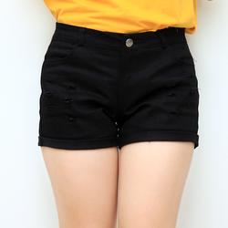 quần short jean kaki trắng đen co giãn nữ