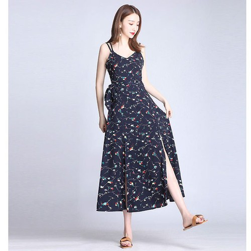 Đầm maxi hoa hai dây xẻ bên