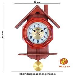 đồng hồ gỗ treo tường quả lắc KS-18