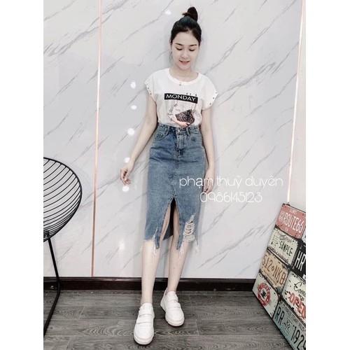 Chân váy jean dài xẻ tà - 11889109 , 19431968 , 15_19431968 , 189000 , Chan-vay-jean-dai-xe-ta-15_19431968 , sendo.vn , Chân váy jean dài xẻ tà