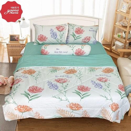 Bộ drap và chăn chần cotton cao cấp yoona korea - the best life ever