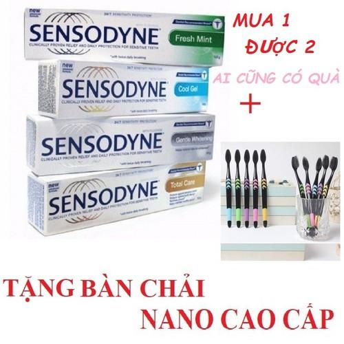 Combo 3 hộp kem đánh răng sensodyne tặng kèm 1 bàn chải than hoạt tính nano