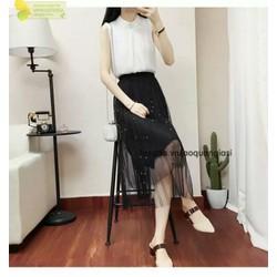 chân váy dài phối lưới