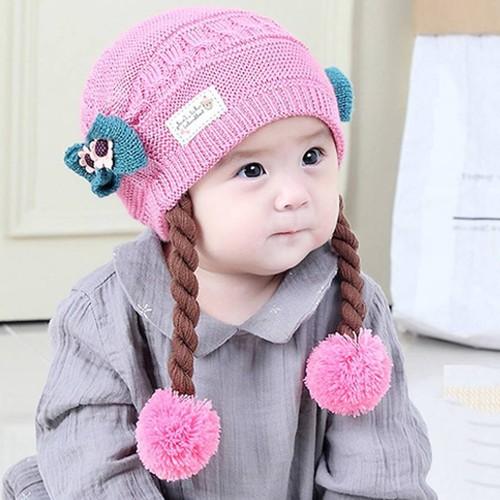 Mũ len tóc giả đuôi sam cho bé gái 0-3 tuổi-ml