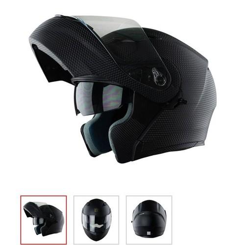 [Quà đỉnh 0đ] mũ bảo hiểm full face roy-al m179 - lật hàm 2 kính vân carbon chính hãng - tặng sừng gắn mũ