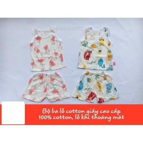 Bộ ba lỗ cotton giấy siêu thoáng cho bé trai và bé gái