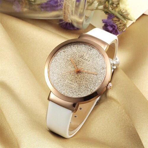 Đồng hồ nữ cao cấp dây da mặt kim tuyến 3d siêu đẹp