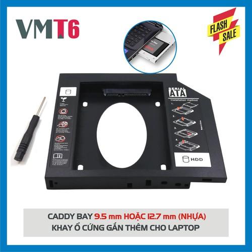 Khay ổ đĩa nhựa caddy bay hdd ssd sata 3 - khay ổ cứng  thay thế ổ dvd 12.7mm!