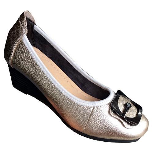 Giày đế xuồng nữ da bò bạc cao cấp dx112