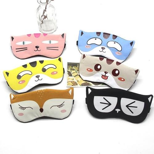 Miếng bịt mắt ngủ 3d có túi gel làm mát mắt hình ảnh động vật dễ thương đi kèm 2 cặp nút tai giảm tiếng ồn