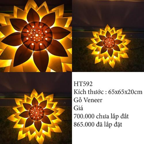 Đèn ốp trần bằng gỗ hình hoa sen + tặng bóng đèn