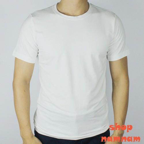 Áo phông nam trơn cổ tròn màu trắng