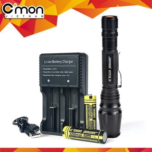 Bộ 1 đèn pin  cmon power tactical t6 led + 2 pin sạc + bộ sạc đôi nhanh cáp usb 1a - vàng