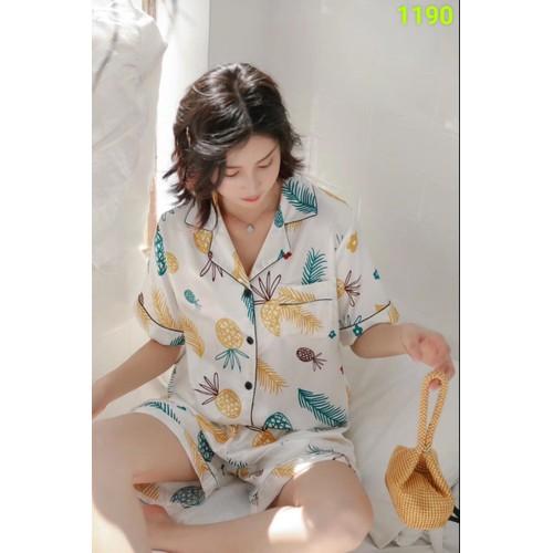 Bộ đùi lụa pyjama trắng họa tiết 1190