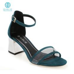 Giày sandals cao gót đế vuông quai trong Girlie S21024
