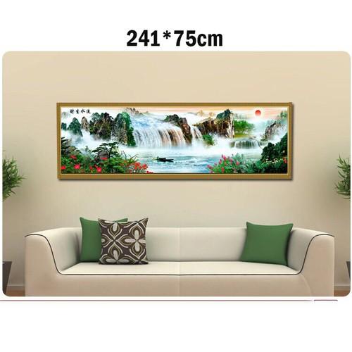 Tranh thêu chữ thập phong cảnh 3d ab491 241x75cm