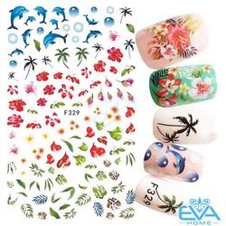 Miếng Dán Móng Tay 3D Nail Sticker Cá Heo Hoa Lá Cây Và Rạng Dừa F329