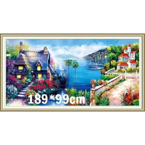 Tranh thêu chữ thập phong cảnh 3d ab299 189x99cm