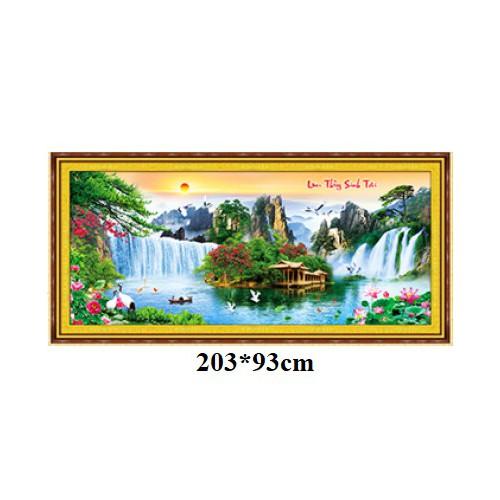 Tranh thêu chữ thập phong cảnh 3d 89ooo8 199x112cm