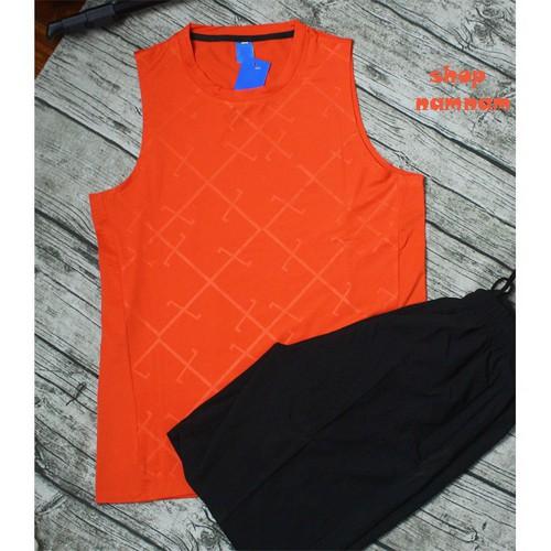 Bộ quần áo thể thao  ba lỗ nam màu cam
