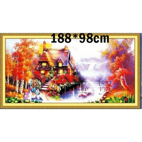 Tranh thêu chữ thập phong cảnh 3d ab219 188x98cm