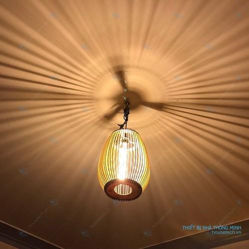 Đèn treo quán cafe bằng gỗ veneer hình bầu dục tặng kèm bóng edison 6w