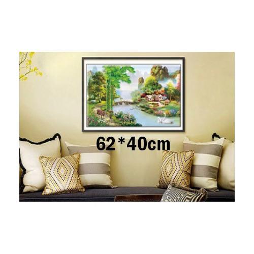 Tranh thêu chữ thập phong cảnh 3d ab1178 62x40cm