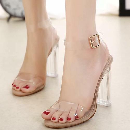 Giày cao gót quai trong cao cấp