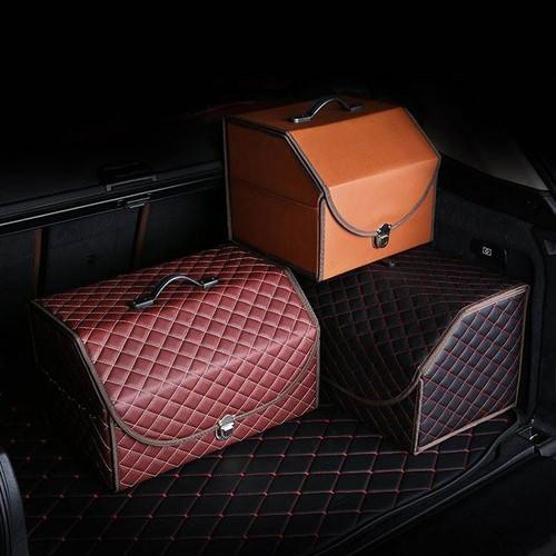 Thùng đựng đồ đa năng cốp sau ô tô bọc da cao cấp , có nắp gấp, gọn gàng , ngăn nắp chứa được nhiều đồ