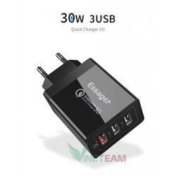 Cốc sạc 3 cổng công suất 30W 5 V 9 V 12 V ESSAGER ECTQC3 FBB01 DC3304