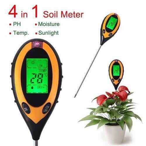 Máy đo độ ph đất độ ẩm ánh sáng nhiệt độ dụng cụ đo ph 4 in 1