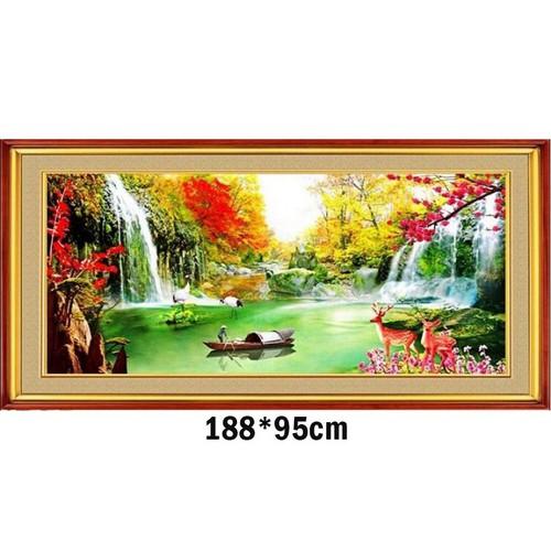 Tranh thêu chữ thập phong cảnh 3d ab228 188x95cm