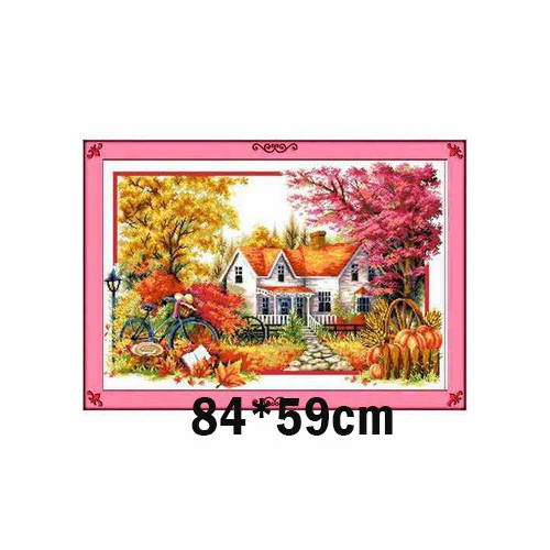 Tranh thêu chữ thập phong cảnh 3d ab552 84x59cm