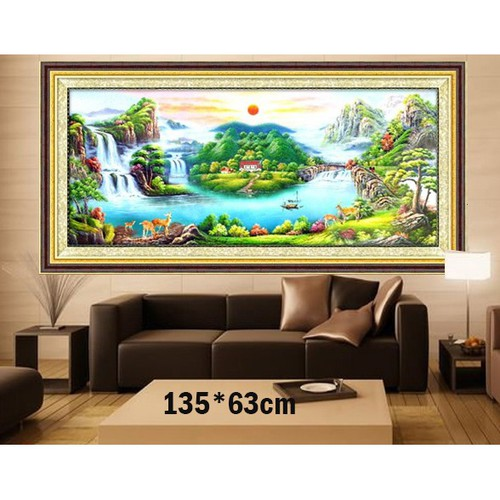 Tranh thêu chữ thập phong cảnh 3d ab1133 135x63cm