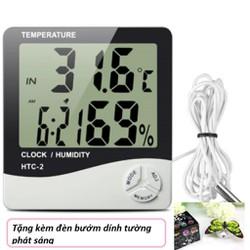 Đồng hồ đo nhiệt độ và độ ẩm HTC 2 tặng kèm đèn bướm dính tường phát sáng dc1183 dc2307