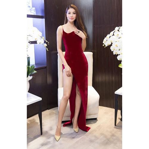 Đầm dạ hội kiểu 2 dây xẻ tà sang trọng